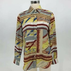The-Shirt Top Women Size M Abstract Print Long Sle